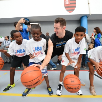 RIO DE JANIERO, BR - OCTOBER 15: Jason Smith of the Orlando Magic participates during a NBA Cares Court Refurbishment sponsored by AMWAY during the 2015 Global Games on October 15, 2015 at Escola Municipal Santos Anjos in Rio de Janiero, Brazil. NOTE TO USER: User expressly acknowledges and agrees that, by downloading and or using this photograph, User is consenting to the terms and conditions of the Getty Images License Agreement. Mandatory Copyright Notice: Copyright 2015 NBAE (Photo by David Dow/NBAE via Getty Images)