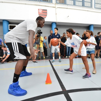 RIO DE JANIERO, BR - OCTOBER 15: Victor Oladipo of the Orlando Magic participates during a NBA Cares Court Refurbishment sponsored by AMWAY during the 2015 Global Games on October 15, 2015 at Escola Municipal Santos Anjos in Rio de Janiero, Brazil. NOTE TO USER: User expressly acknowledges and agrees that, by downloading and or using this photograph, User is consenting to the terms and conditions of the Getty Images License Agreement. Mandatory Copyright Notice: Copyright 2015 NBAE (Photo by David Dow/NBAE via Getty Images)